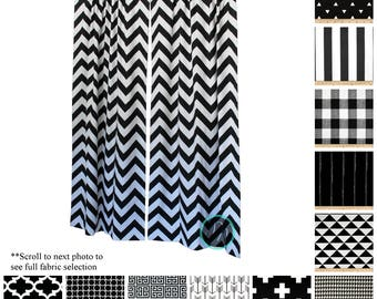 Geometric Curtains- Pair of Drapery Panels- Black and White Curtains- Black Bedroom Drapes- Classic Window Treatments- Black Cafe Curtains