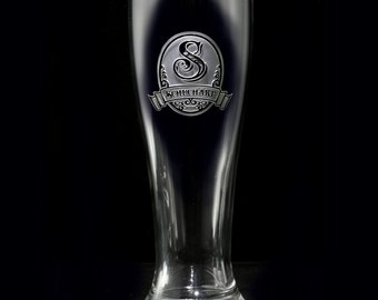 Pilsner Beer Glass, Custom Engraved Personalized Barware Gifts, Set of 2, M8