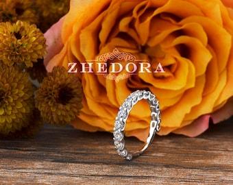 White Gold Eternity Band in 14k/18k  ,Moissanite Wedding Band, White Sapphire Wedding Band, Anniversary Band, Wedding Ring by Zhedora