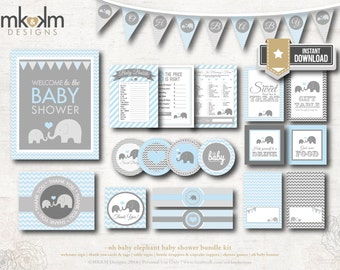 Elephant Baby Shower, INSTANT DOWNLOAD, Elephant Party Kit, Banner, Baby Shower Games, Elephant Party Decor, Blue and Gray Chevron, #E1