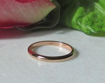 14k Solid Rose Gold Stacking Rings, 2mm Gold Rose Band, 14k Rose Gold Stacking Band, 2mm Rose Gold Wedding Bands, 14k Rose Gold Spacer Bands