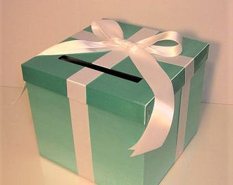 Wedding Card Box Spa Blue/Mint Green Blue Gift Card Box Money Box Holder-Customize your color