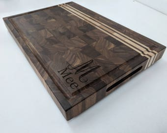 Monogramed Walnut With Maple Strip With Juice Groove Cutting Board choose your own engraving