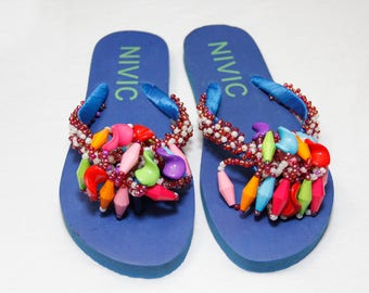 Hand Beaded Blue Slippers/Flip Flop