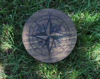 Compass Wood Burned Box