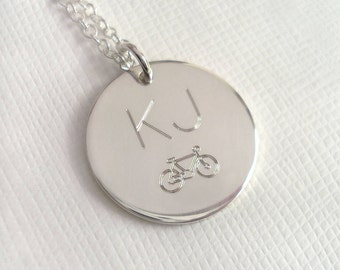 Men's Engraved Monogram Bike Necklace - Medium