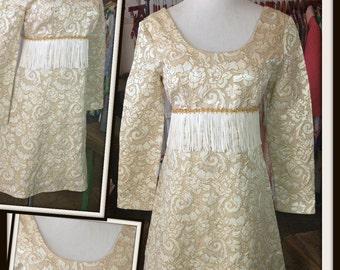 SALE Vintage Gold Cream Brocade Mini Dress with Fringe 1960s
