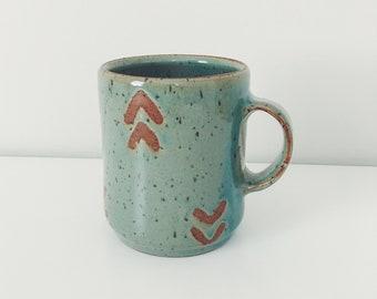 Mint Arrow Ceramic Mug, wheel thrown coffee mug, light green stoneware ceramic speckled pottery mug with wax resist mint green modern mug