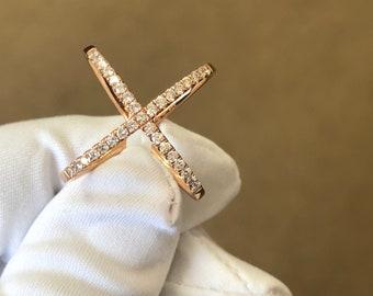 14Kt Rose Gold Diamond X Ring