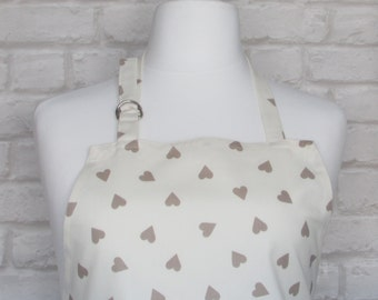 Taupe Heart Adult Apron,Adjustable Apron, Kitchen, Cooking, Home, Apron, Country, Fabric,