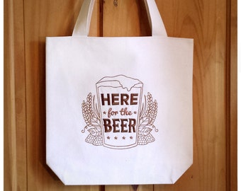 Here For The Beer Tote Bag Embroidered Canvas - Dark Brown Ombre Beer Shopping Bag, Real Ale Beer Lover CAMRA Home Brew Cask Ale Gift, 3564