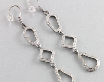 Pave Diamond Earrings, Pave Diamond Abstract Drop Earrings, Diamond Link Chain Drop Earrings, Diamond Abstract Drop Earrings, (DER-103)