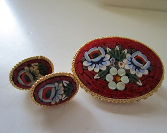 Tile Pin and Earring Set from Italy