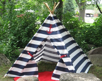 Nautical Teepee, Ready To Ship In Two Sizes, Can Include Window, Tepee, Kids Tent, Navy and White Stripe, Includes Poles