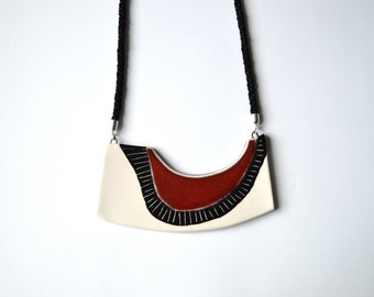 Geometric ceramic statement necklace, handmade contemporary jewelry, unique gift for her