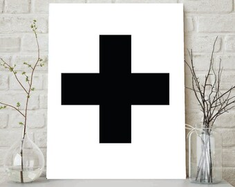 Swiss Cross, Plus Sign, Black Swiss Cross, Black White Wall Art, Swiss Cross Print, Plus Sign Art, Cross Wall Prints, Digital Printable Art