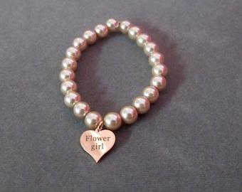 Rose gold flower girl bracelet,Rose gold Bracelet,Rose Gold Heart Bracelet,Flower girl gift,Flower girl jewelry,Rose gold ,Free shipping USA