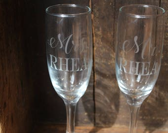 Custom Etched Champagne Glasses