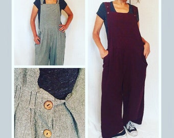 Artist Overalls, painted and printed bib overalls, baggy fit romper, bird prints, painting, OOAK wearable art clothing, loose fitting bibs