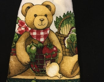 Teddy Bear with Veggies Double Sided Kitchen Hand Towel Paddy Green 4