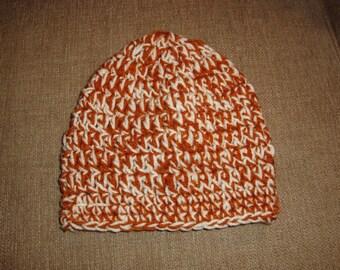 Baby Burnt Orange and Cream Double-Strand Chunky Crochet Hat / Beanie, Texas Longhorn, University of Texas, UT