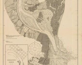 Winyah Bay Map - South Carolina Historical Chart 1919
