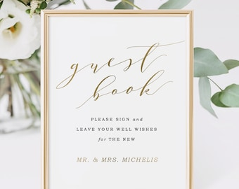 Wedding Guest Book Sign, Printable Guestbook Sign, Wedding signs, Party signs | Edit in Word or Pages
