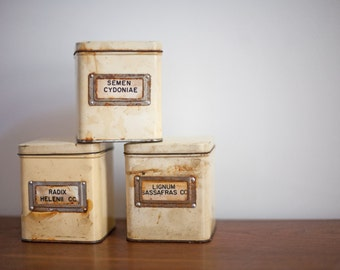 Vintage German Apothecary Herbal Pharmaceutical Tin Canister Set