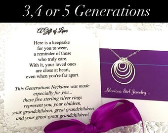 5 GENERATION Necklace for Great-Great Grandmother Gift - 3, 4 or 5 Generations Jewelry, Choice of 3 Poem Cards STERLING SILVER Grandmother