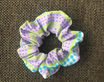 Ponytail Holder, Purple Blue, Hair Tie, Scrunchie, Hair Band, Retro, Gifts for Her, Gifts Under 10