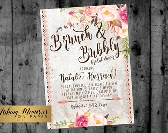 boho BRUNCH & BUBBLY INVITATION, bohemian, tribal, aztec, Wine Invitation, Champagne Invitation, Bridal Shower Invitation, Brunch and Bubbly