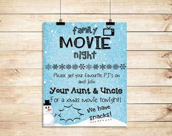 Family Christmas Snowy Movie Night From Aunt and Uncle Poster PRINTABLE A3