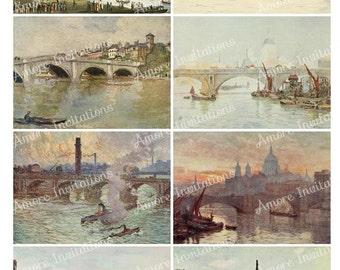 Printable Vintage London Bridges Collage Sheet, Images, ATC, 2.5 x 3.5 Inches  Instant Download  Commercial Use  CU