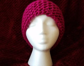 Hot Pink Knitted Bun Hat (adult)