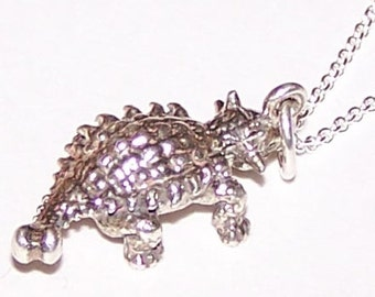 Sterling ANKYLOSAURUS DINOSAUR Pendant with 22 Inch Chain - 3D -