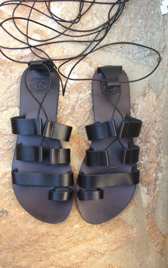 sandals Handmade Sandals Sandals Up Black Summer Tie Sandals Tie Greek Gladiator Greece Leather in sandals Sandals up Lace up qvXXaxZg