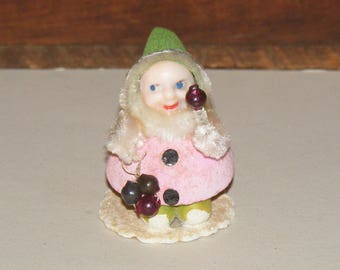 Vintage Pink Spun Cotton and Mache Gnome or Pixie Elf Chenille Trim Mercury Ball Accent