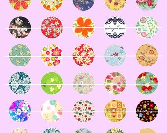 30 # 40 Digital Images/designs for 12mm round cabochon floral nature