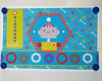 Happy Birthday Boy Card, With Robot and Tools