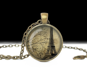 Paris Jewelry Paris Pendant Eiffel Tower Necklace Wearable Art Pendant Charm Shabby Chic Jewelry Paris in the Fall
