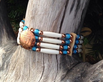 Native American style choker, copper thunderbird button, bone choker, turquoise white heart beads, pow wow regalia, red brass