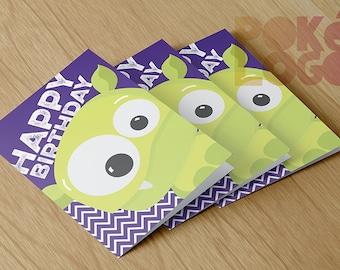 Happy Birthday Card Printable, Digital File, Instant Download, folded Happy Birthday Card, Monster, Monsters, DIY, Custom