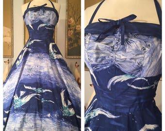 1950s Vintage Hawaiian Dress by Kamehameha -- Fish Novelty Print in Shades of Blue