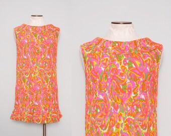 1960s Mini Dress / Vintage 60s Go Go Dress / Medium Large