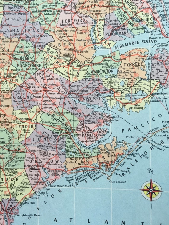 Vintage 1965 hammonds world atlas map page north carolina on one sold by greenbasics gumiabroncs Choice Image