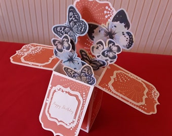3d Box pop up card . Happy Birthday  floating butterflies. FREE SHIPPING