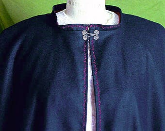 """Long Black Wool Cape with Burgundy Cotton Lining and embroidery trimming - One of a Kind, size Med- Large and 46"""" long"""