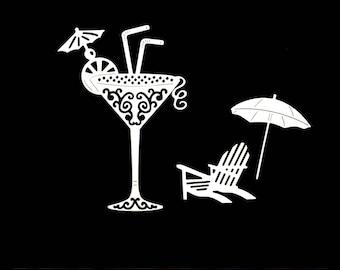 Cuts scrapbooking holiday cocktail umbrella embellishment Scrapbook die cut scrap deco travel transat Chair glass