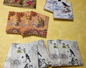 "LOT OF 16  bird postage stamp plastic  1  1/4"" SQUARE 4 designs"