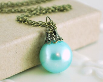 Aqua Christmas Jewelry, Antiqued Brass, Blue Holiday Necklace, Glass Pearl Ball, Wire Wrapped Ornament